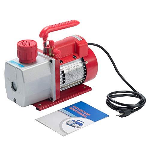 Bomba de vacío para aire acondicionado, 5CFM 1 / 2HP Bomba de vacío de paletas rotativas de 2 etapas para HVAC / Auto AC Recarga de refrigerante, Desgasificación de vino o epoxi, Ordeño de vaca o co