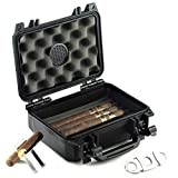 Mrs. Brog Waterproof Travel Cigar Humidor Case - Holds up to 20 Cigars - with Accessories kit (Includes Cigar Cutter & Collapsible Cigar Stand)