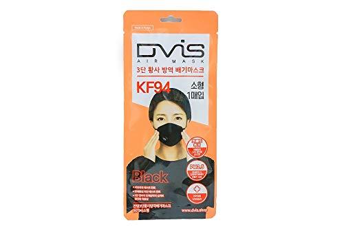 KF94子供マスク(小学生低学年用) 呼吸弁付き 性能メルトブローンフィルダー 不織布 3D立体設計 通気性 1枚で3日間使用可能 韓国製 黒/1枚入 (ブラック)