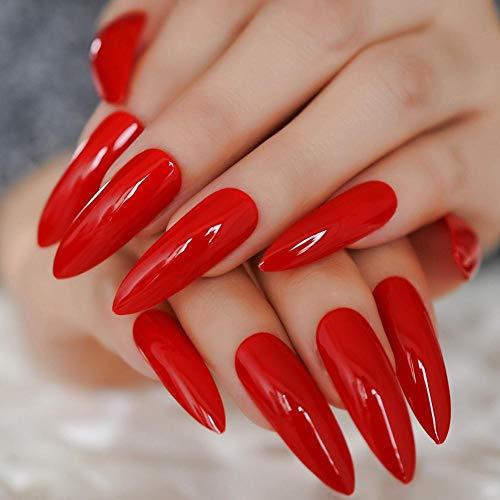 TJJF Hot Red Sharp Ending Artificial Nail Tips Flame Extra Long Full Fake Finger Nails Stiletto Shine Lady False Nail 24Pcs
