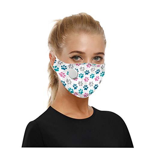 QingJiu Staubschutz mit Atemventil Dreischichtig Schutz mit 2 Filter Gedruckt Staub Herren Damen Kinder Baumwolle Waschbar Verstellbar Gesichts