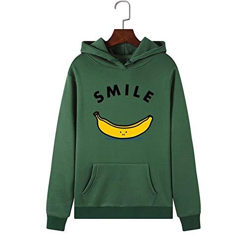 Sudadera con capucha verde sudadera sonrisa de la fruta de plátano linda del animado de dibujos animados patrón de impresión resorte de los Hoodies y al aire libre otoño ropa de sport ( Size : XXL )
