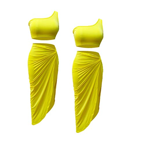Fenical Damen Tank Top One Shoulder Midirock Set Sommer Outfits Zweiteiliges Outfit Anzug Set Clubwear für Beach Party Farbe:Gelb Größe:M