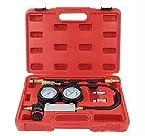 Soontrans Kit Probador de Fugas del Cilindro Set Tester Cilintro Fugas Kit de Detectores de Fugas de Compresión Manómetro Doble 0-7bar/0-100psi para Motor a Gasolina