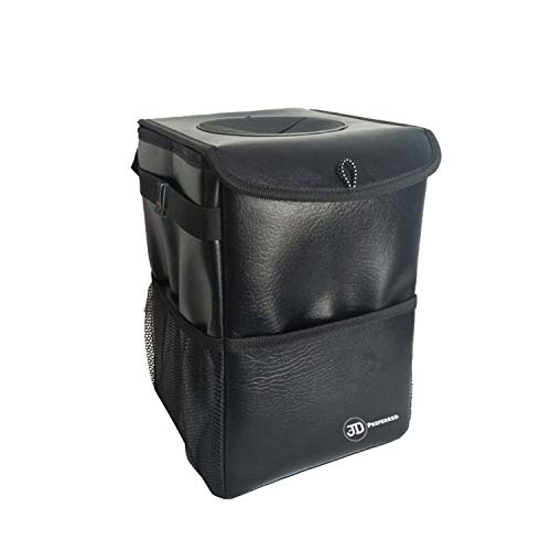 JD Preferred Boat Trash Can with Lid-Premium Quality Hanging Car Garbage Bag with Storage Pockets-100% Leak Proof, Odor Free, Portable Trash Bin-Best for Vehicles, RV, Boats