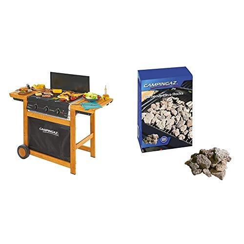 Campingaz Woody Adelaide 3 Barbacoa de Gas con 3 Quemadores, 14 Kw, Fácil Sistema de Limpieza Instaclean, Parrillas de Acero, 2 Mesas Laterales + 205637 - Piedras lava, 3 kg