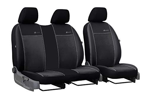 Auto Sitzbezüge schwarz Exclusive Vordersitze 3 Sitzer geeignet für Peugeot Expert I 1995-2006 Schonbezüge Kunstleder mit Velour Stoff für LKW Kleintransporter