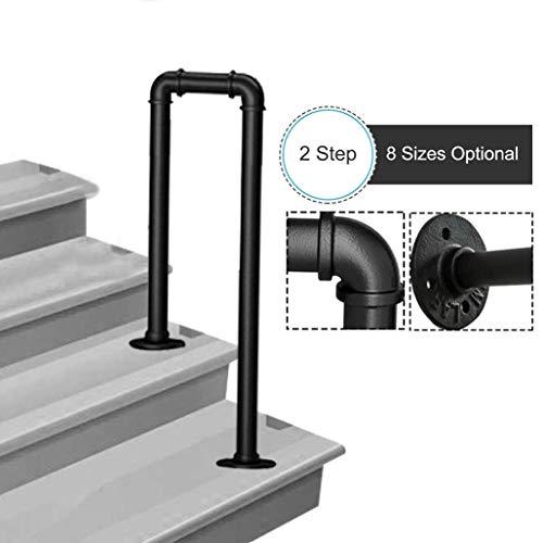 FS Handläufe for Außentreppen, U-förmiger Handlauf aus verzinktem Rohr in mattschwarzem Schmiedeeisen, Treppengeländer for Innentreppen Außenstütze (Size : 35cm/1.1ft)