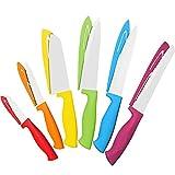12 Piece Steel Color Knife Set - 6 Steel Dishwasher Safe Kitchen Knives with 6 Knife Sheath Covers -...