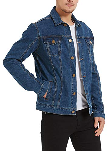 Plaid&Plain Men's Denim Trucker Jacket Men's Slim Fit Jean Jacket Stretch 1312DarkBlue L-37
