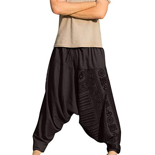 Hombres Pantalones Chandal Jogging Casuales Pantalón de algodón y Lino Estampado Sueltos Pantalón de Playa Vintage con Bolsillos Laterales Pantalone Piernas Anchas Casuales Cómodo M-5XL Gusspower