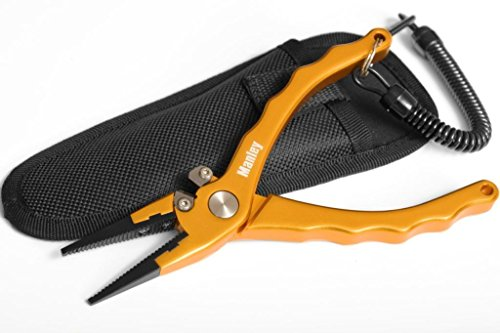 Manley Professional Saltwater Fishing Pliers - 7.5' Anodized Aluminum - Tungsten Carbide Cutters