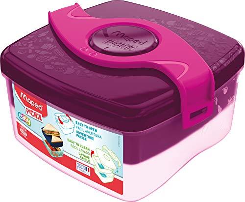 Maped Picnik Origins - Boîte à Déjeuner Repas Enfants - Ouverture Facile - Lunch Box 2 Compartiments dont 1 Amovible - en Plastique Sans BPA ni Phtalates - Rose - 1,4L