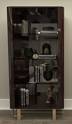 Casa Padrino Vitrina Art Déco de Lujo marrón Oscuro/Oro - Vitrina de Madera Maciza Hecha a Mano con 2 Puertas de Vidrio - Muebles de Salón Art Déco