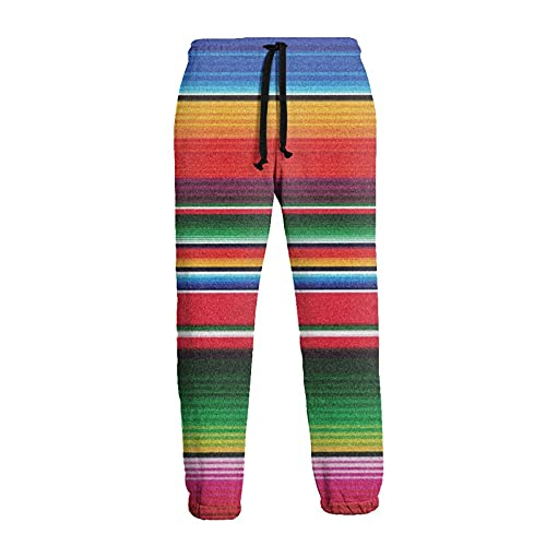 Olverz Pantalones deportivos para hombres Serape Rainbow Stripes Cintura Elástica Jogger Pantalones Durable, Negro, 27-32