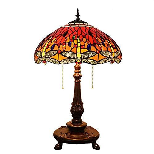 KELITINAus Red Dragonfly Style Decor Table Lamp Stained Glass Creative Restaurant Living Room Bedroom Bedside Table Lamp,Alloy Base