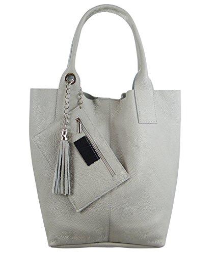 Freyday Damen Echtleder Shopper mit Schmucktasche in vielen Farben Schultertasche Henkeltasche Handtasche Metallic look (Hellgrau)