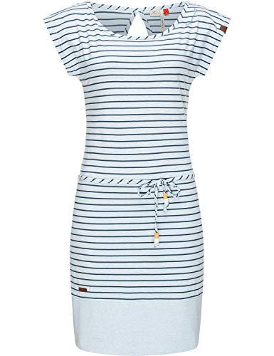 Ragwear Damen Baumwoll Jersey Kleid Sommerkleid Strandkleid Soho Stripes Light Blue20 Gr. XL