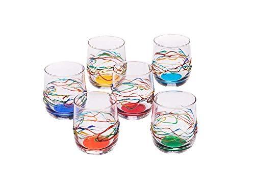 Set mit 6 Gläsern Jazz Wein cl. 19 multicolour von Hand bemalt Glas, Murano Venedig Stil