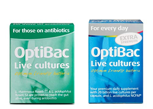 OptiBac for Those on Antibiotics, Pack of 10 Capsules & for Every Day Extra Strength, Pack of 30 Capsules