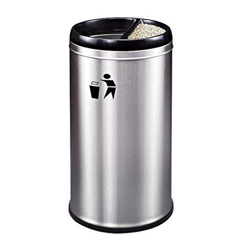 Forma de Bucket Redonda de Basura de Metal Retro sin Tapa con, para Lugares de Entretenimiento de Oficina al Aire Libre Interior, etc. (Color: Albaricoque) YXF99 (Color : Sand Steel Silver)