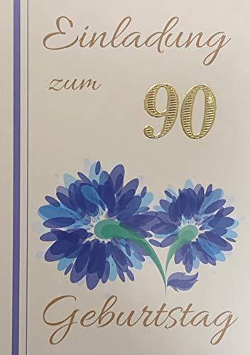 Einladungskarten 90. Geburtstag Frau Mann mit Innentext Motiv blaue Blume 10 Klappkarten DIN A6 im Hochformat mit weißen Umschlägen im Set Geburtstagskarten Einladung 90 Geburtstag Mann Frau K243