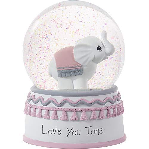 Precious Moments Love You Tons Elephant Musical Snow Globe, One Size, Gray Chevron