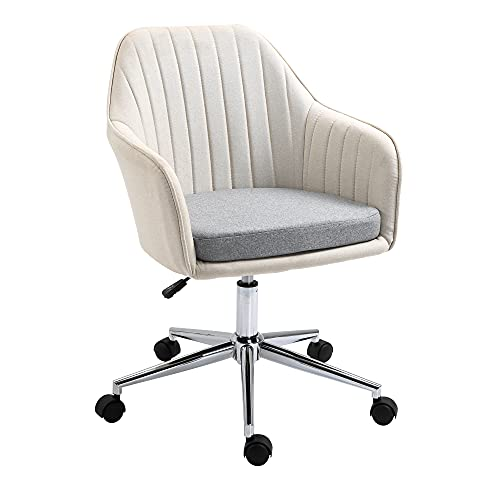 Vinsetto Leisure Office Chair Linen Fabric Swivel Scallop Shape Computer Desk Chair Home Study Bedroom with Wheels, Beige