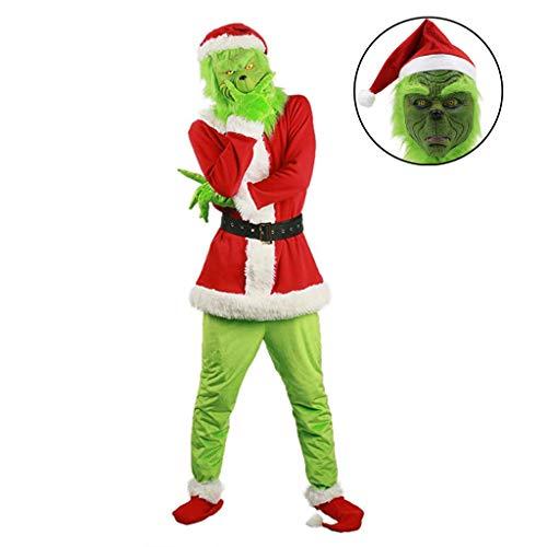 TINGSHOP Grünes Monster Kostüm, Grinch Kostüm Cosplay Einzigartige Uniform Outfit Männer Frauen Kleidung Weihnachten Spiel Outfit Erwachsene Kostüm Kleidung Halloween Deluxe Outfit Uniform,Grün,L