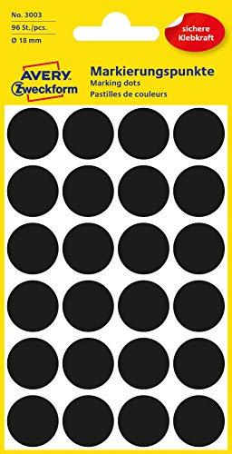 AVERY Zweckform 3003 selbstklebende Markierungspunkte (Ø 18 mm, 96 Klebepunkte auf 4 Bogen, runde Aufkleber für Kalender, Planer und zum Basteln, Papier, matt) schwarz