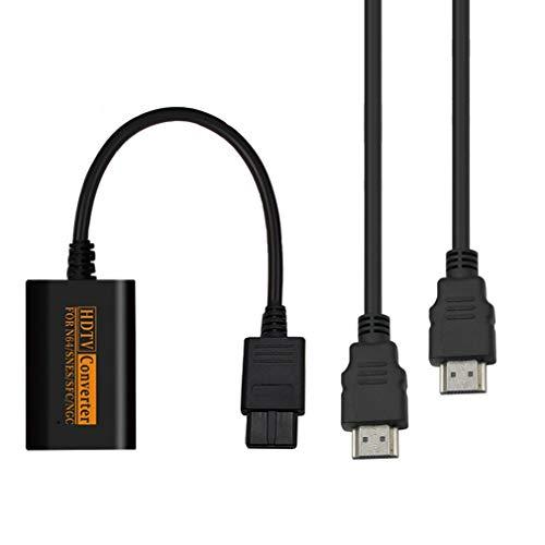 bansd Convertidor de conmutador Compatible con HDMI para N64 SNES NGC SFC a HDTV Video Scart Black