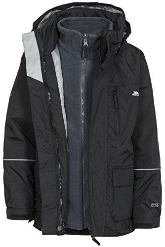 Trespass Prime II, Black, 5/6, Waterproof 3-in-1 Winter Jacket with Hood, Removable Inner Fleece...
