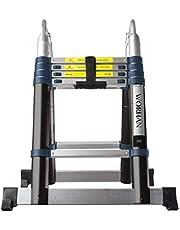 WORHAN® 3.2m Escalera Doble Telescopica PRO Multiuso Multifuncional Plegable Tijera Aluminio Anodizado Nueva Generación Calidad Alta 320cm K3.2B