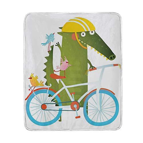 DISLONLY Sombrero de cocodrilo Verde Amarillo va en Bicicleta con Amigos Dibujos Animados niños guardería King (230x270cm) Manta de Franela Ligera y cálida Suave y cálida para Cama o sofá