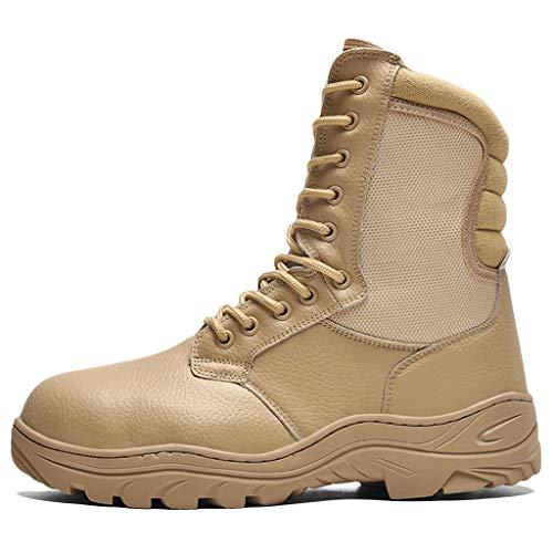 Wygwlg Hombres Puntera de Acero Zapatos de Seguridad Entrenadores Militares Botas Transpirables Deporte al Aire Libre Fuerzas Especiales Bota Botas tácticas de Senderismo,Sand color-42