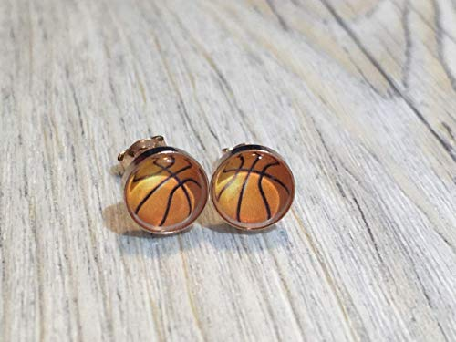 Basketball rosevergoldet 925 Sterling Silber 8mm Ohrringe Ohrstecker
