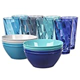 Plastic Cup and Bowl Set with 8 20-ounce Water Tumblers and 8 Cereal Bowls in 4 Coastal Colors