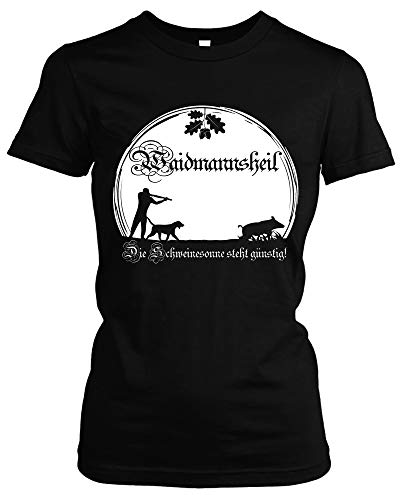 Waidmannsheil Girlie Shirt | Jagd | Jäger | Wildschwein | Wild | Förster | Damen | Frauen | Revier | Keiler | Hirsch | Fun (M, Schwarz)