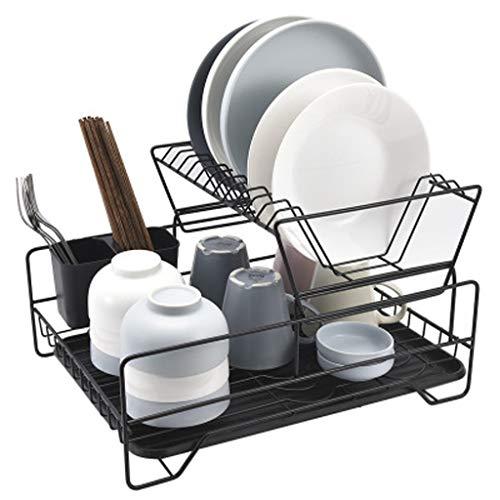 OldPAPA Abtropfgestell, Geschirr Abtropfständer Mit Auffangschale,2 Etagen Demontage Geschirr abtropfständer Einfacher Stil Küchen Organizer,Schwarz