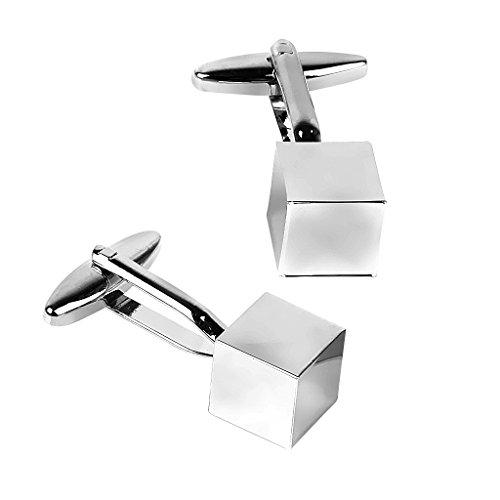1 Paire de Homme Boutons de Manchette en Acier Inoxydable Miroir Cube - d'argent