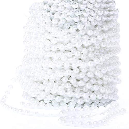 Xinlie Parelband decoratieve ketting DIY parels sieraden accessoires parelband parelband diameter 6 mm 25 m / rol parelketting parelslinger voor Kerstmis bruiloft decoratie tafeldecoratie party decoratie, wit