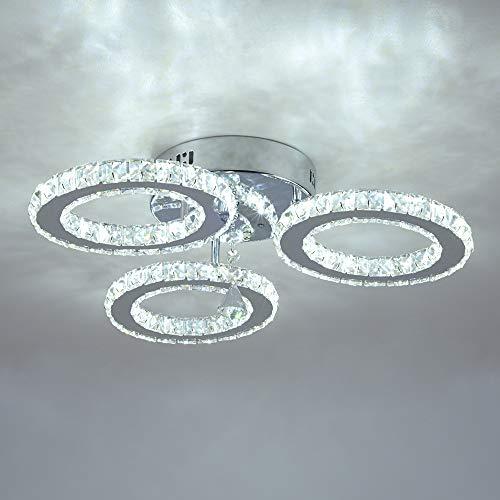 LED Kristall Deckenleuchte, Moderne Kristallkronleuchter,Edelstahl Pendelleuchte für Schlafzimmer Wohnzimmer Esszimmer