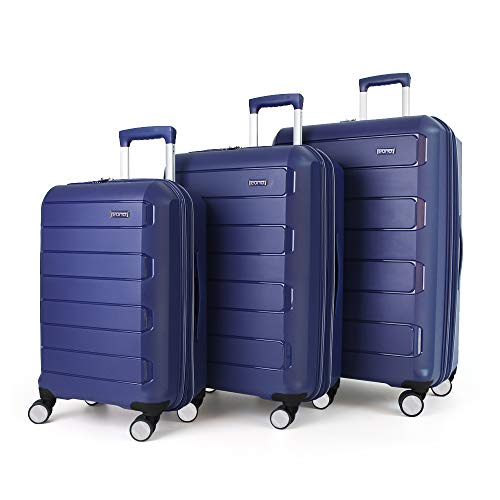 Eono by Amazon Expandable Luggage Set of 3 Piece Polypropylene Hard Shell Anti-Scratch Suitcases with 4 Spinner Wheels and Built-in TSA Lock, 55 cm, 66 cm, 76 cm, Blue