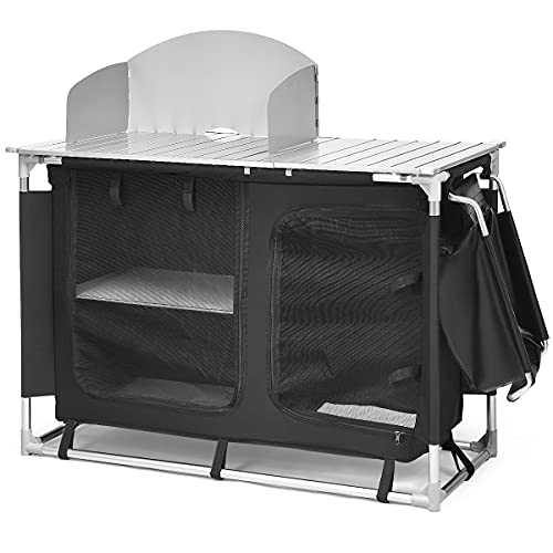 Portable Camping Kitchen Table with Storage Organizer, Aluminum Windscreen Folding Cooking Table with Sink Camp Kitchen Equipment for BBQ, Party and Picnic, Black