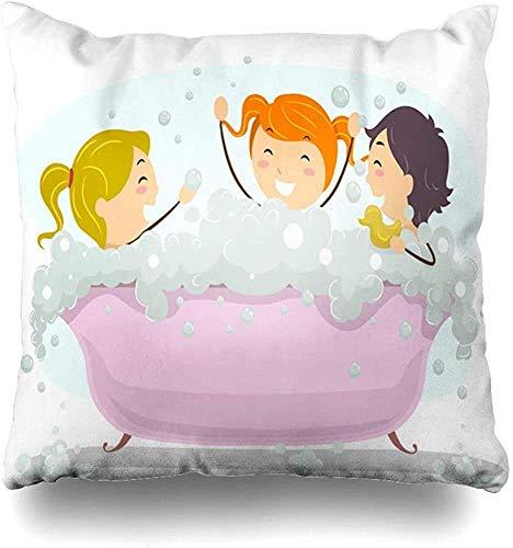 Doble Cojines Fundas 18' Fiesta Niño Niños Celebrando Día del Baño Burbujas Bañera Burbujas Celebración Funda de Almohada Suave para la Piel