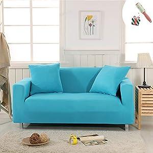 Funda Sofá de 3 plazas Universal Estiramiento, Morbuy Color sólido Cubierta de Sofá Cubre Sofá Funda Furniture Protector Antideslizante Elastic Soft Sofa Couch Cover (3 plazas,Azul)