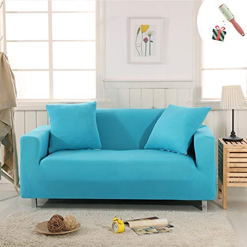 Funda Sofá de 3 plazas Universal Estiramiento, Morbuy Color sólido Cubierta de Sofá Cubre Sofá Funda Furniture Protector Antideslizante Elastic Soft Sofa Couch Cover (2 plazas,Azul)