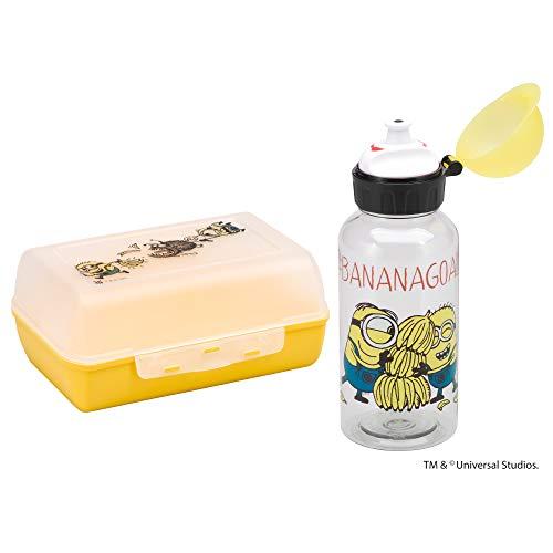 WMF Minions Kinder Lunchbox mit Flasche 2-teilig, Brotdose Kinder mit Fächer, Tritan-Trinkflasche Kinder, ideal für unterwegs, BPA frei