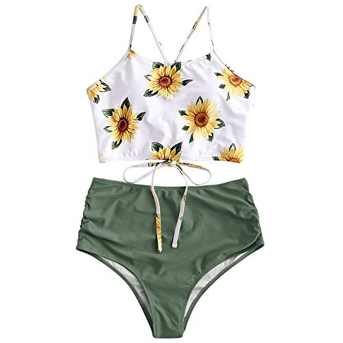 ZAFUL Sunflower Bikini Set Padded Lace Up Tankini Ruched High Waisted Bathing Suit Green S