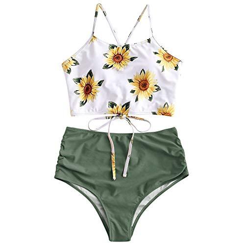 ZAFUL Sunflower Bikini Set Padded Lace Up Ruched Tankini High Waisted Bathing Suit Green XXL